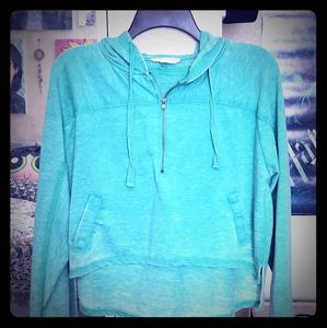 Forever 21 Green Cropped Hoodie